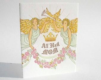 "A2 Angels ""All Hail Mom"" letterpress card"