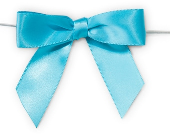 "Turquoise Blue 3"" Pre-Tied Satin Bows with 5"" Twist Ties~ 7/8"" ribbon- Pack of 6"