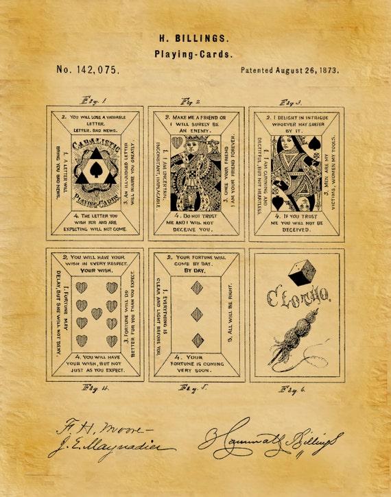 Patent 1873 Playing Cards Tarot Cards Patent Art Print