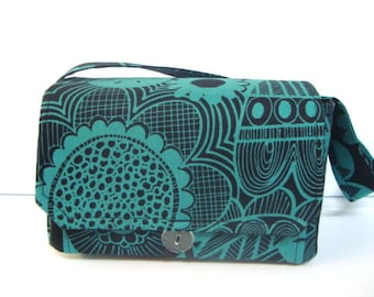 """Large 4"""" Size Coupon Organizer / Coupon Bag /Budget Holder Box Attaches to Your Shopping Cart Black with Turquoise Bold Floral"""