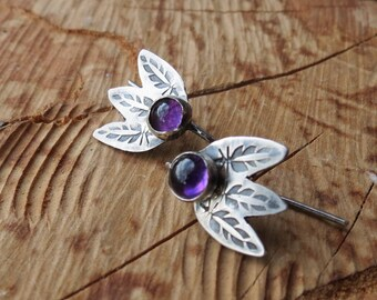 Dainty Feather Earrings with Amethysts Silver Earrings Tiny Drop Earrings Gemstone Earrings Gift for Her Boho Jewelry for friend or coworker