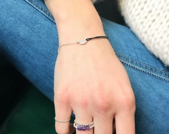 Sterling silver Ring with Amethyst beads / Ring for her / Summer Ring