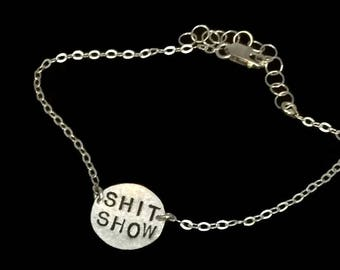 Shit Show, Messy, Hot Mess Necklace, Circle, Funny Gifts, Brass Disc Necklace, Round Necklace, Metalwork, Metal Pendant, Metal Taboo