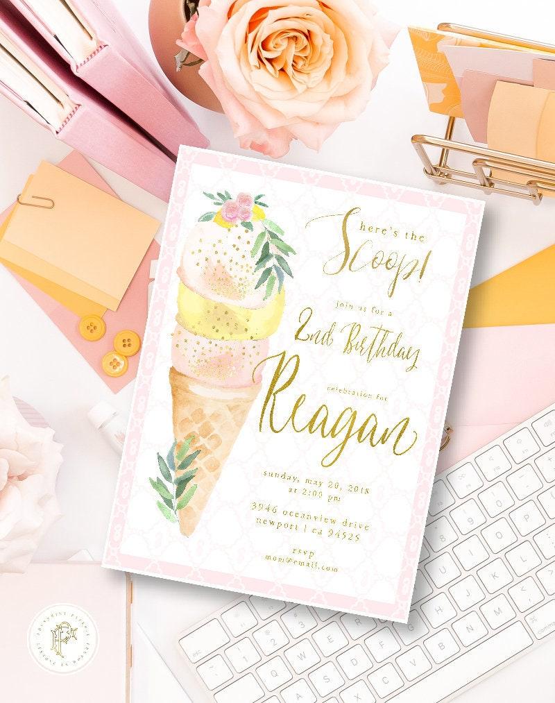Ice Cream invitation - Ice Cream Birthday Invitation - Ice Cream ...