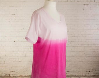 Womens tshirt pastel goth shirt ombre dip dyed gradient pastel grunge shirt light pink to bright pink baggy v neck tshirt size 2XLarge