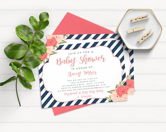 Floral Baby Shower Invitation, Printable Invitation, Floral Baby Shower Invitations, Navy and White Shower Invitation, Baby Shower Invite