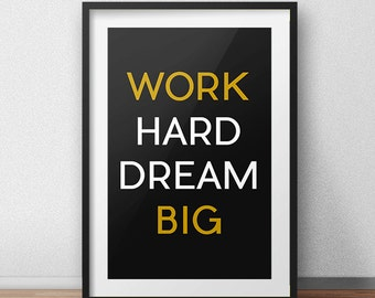 Work Hard Dream Big, Black Yellow, Sports Wall Decor, Gymnastics Decor, Fitness Print, Trending Home Decor, Sport, Gym, Typography Wall Art.