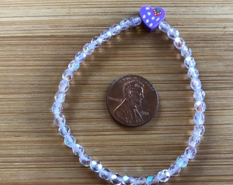 Have a Heart:  Girl's/Women stretch 6.5 inch bracelet in pale lavender fire-polished Alexandrite with heart charm