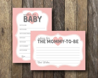 Baby Shower Printable Set - Advice for Mommy to Be - Wishes for Baby Card - Pink Baby Shower - Instant Download - Baby Shower Printables