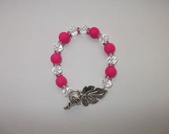 Bright pink glass and clear Crystal beaded bracelet