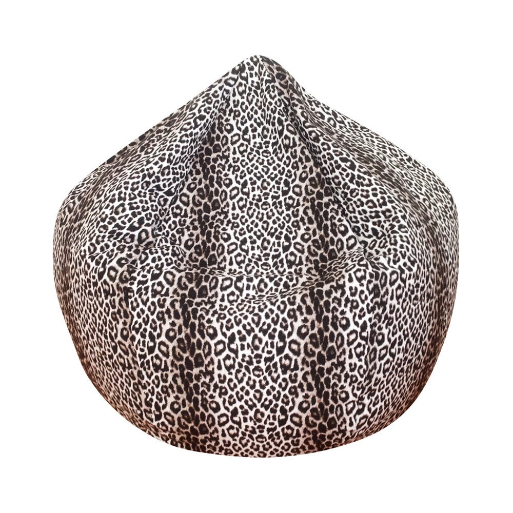 Leopard Print Cotton Twill Bean Bag Chair