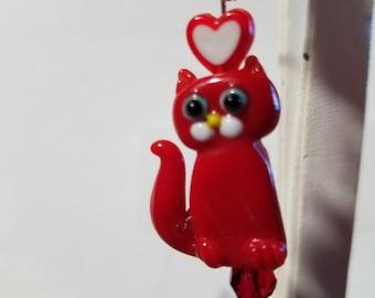 Red Glass KItty Earrings