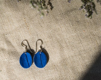 Genuine crocodile leather earring in bright blue/ Crocodile leather earrings/ Leather earring