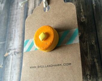 Pancake Lapel Pin / Tie Tack - Resin 3D Pancake Stack with Butter - Breakfast Pin - Foodie Gift
