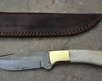 Damascus Steel Hunting Knife with Bone Handle 532