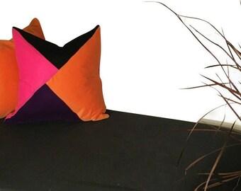 Color Block Pillow, Velvet Pillow, Pink and Black Pillow Cover, Orange Pillow, Purple Velvet Couch Pillow, Velvet Sofa Cover