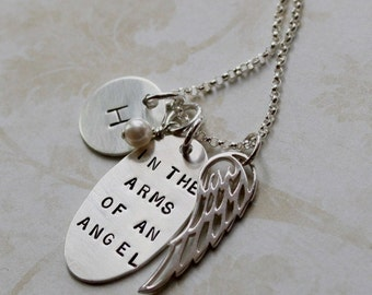 In The Arms Of An Angel  - Sterling Silver Hand Stamped Necklace