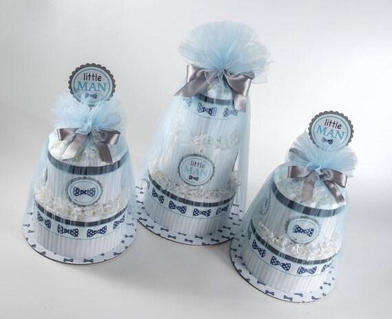 Diaper Cake Set - Baby Boy Diaper Cake Set - Baby Shower Decor - Little Man Theme- Bow Tie Baby Shower - Baby Shower Centerpieces