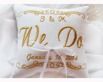 WE DO Ring bearer pillow , wedding pillow , wedding ring pillow, Personalized Custom embroidered ring bearer pillow (R74)