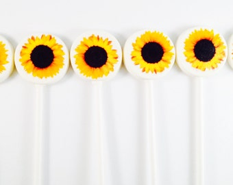 6 Sunflowers White Chocolate Lollipops