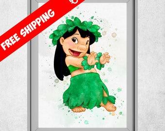 Lilo And Stitch Print, Lilo And Stitch Wall Art, Disney Decor, Lilo And Stitch Nursery Decor, Kids Room Wall Art, Free Shipping
