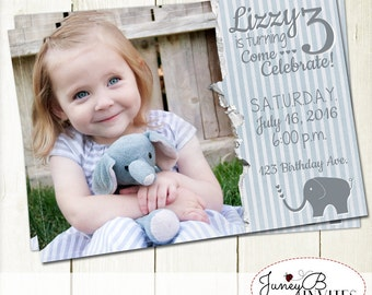 Elephant Birthday Invite, Girl Birthday Invitation with Picture