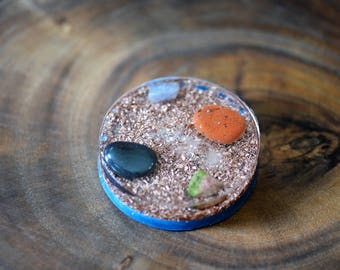 Powerful Orgone Positive Energy Device - Charging Plate  - Quartz -  Hematite - Jasper - Unakite - Blue Calcite - Copper - Glow In Dark