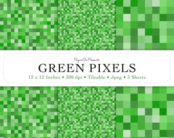 """Mini Pack """"GREEN PIXELS"""" Digital Paper • Instant Download • Scrapbooking Supply • High Quality • Commercial Use"""