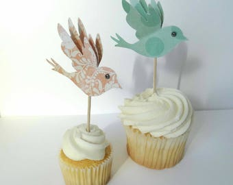 Bird Cupcake Toppers, Birthday Cupcake Toppers, Garden Party, Decorated Toothpicks, Bridal Shower, Bird Birthday Party, Baby Shower