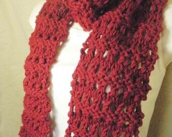 Dark Red Ribbed  Knit Eyelet Fashion Scarf Handmade