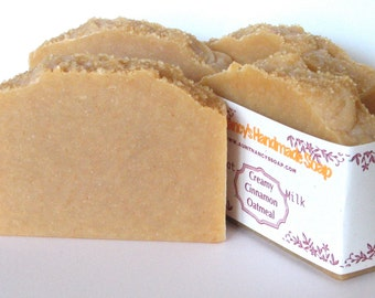 Creamy Cinnamon Oatmeal Handmade Soap - Natural Goat Milk Scented With Essential Oils - Added Finely Ground Oatmeal - Sugar on Top