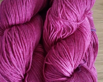 100g 4 Ply 75 Merino/25% Mulberry Silk Luxury Hand Dyed Yarn = Raspberry