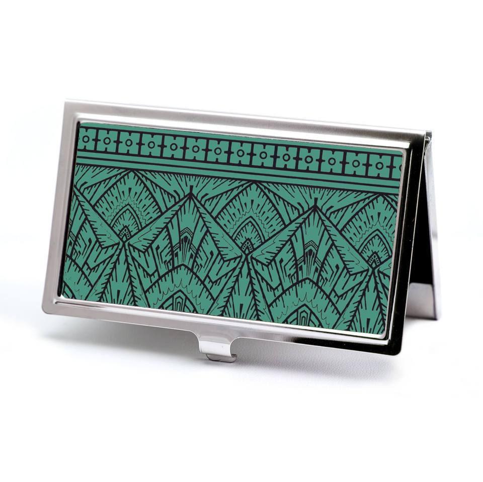 Empire Teal Business Card Holder Credit Card Case Art Deco