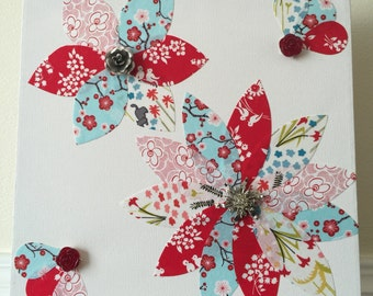 Handmade Fabric Flower Canvas Wall Art