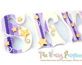 Twinkle Star Wall Letters - Twinkle Star Nursery Letters - Starry Night Nursery Letters - Purple Nursery Wall Letters - Girls Wall Letters