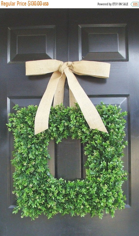 SUMMER WREATH SALE Burlap Boxwood Wreath, Outdoor Wedding Wreath, Wedding Decor, Spring Wreath, Summer Decor, Wall Hanging, Wall Decor  22 I