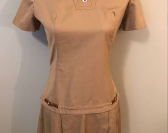 Vintage Brown Drop Waist Pleated Mod Dress By Miss Donna - Size 8 - 1960's