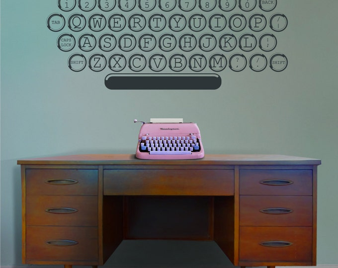 vintage typewriter vinyl wall decal, office, writer, author wall art, screenwriter wall sticker, retro, keyboard art
