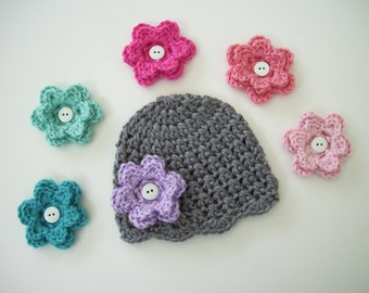 Baby Girl Hat, Pick 6 Flowers, Toddler Hat, Photography Prop, Baby Shower Gift, Grey Crochet Hat, Winter Hat, Baby Girl, Crochet Baby Hat