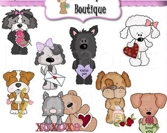 Puppy Love 2018 Clip Art Set OOAK Graphics Clipart Digital scrapbooking clipart printables card making Whimsical Inklings love