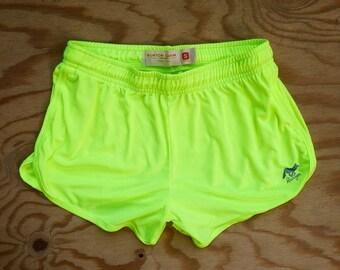 Runyon Womens Neon Yellow Performance Running Shorts Made In USA