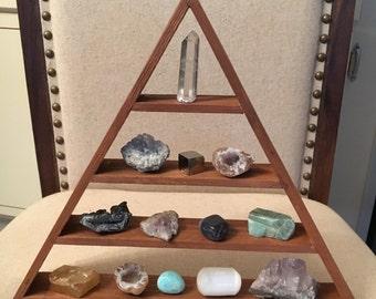 Meditation Shelf, Triangle Shelf, Magic Pyramid Shelf, Cedar Shelf, Crystal Shelf, Altar, Goddess Shelf, Crystal Display, Pyramid Shelf