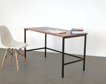 The Samwel Desk - Walnut with black powder coated steel
