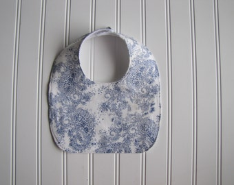 Girls's Baby Bib - Floral Baby Bib - Drooling Bib - Infant Bib - Early Feeding Bib - Blue Floral Bib - Baby Gift - Made 4U Handmade Designs