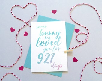 Some Bunny Loves You Days Card – Personalised Easter Card – Card for Husband –birthday card for husband – Personalised Anniversary Card