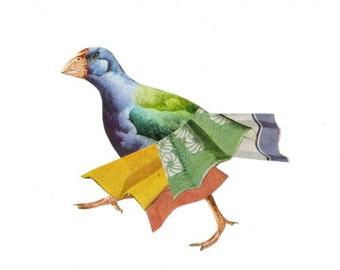 Modern Original Art Collage, Bright Color Bird Artwork, Colorful Contemporary Bird Art