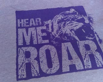 """WOMEN'S FEMINIST FITTED """"Hear Me Roar"""" T-shirt Equal Rights Political Activist Purple Short Sleeve Screen Printed Triblend Tee"""
