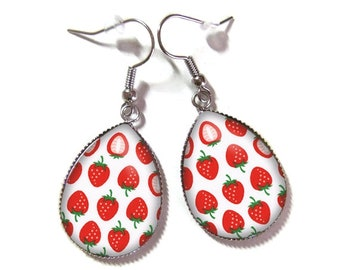 Drop earrings with glass cabochon 18 x 25 mm * Strawberry * (090218)