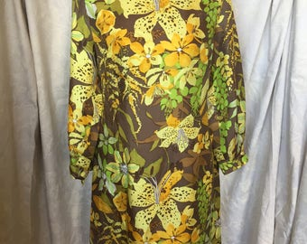 Late 60s yellow and green tropical dress
