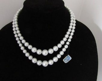 Vintage Coro Light Blue Thermoset Double Strand Necklace With Original Tag